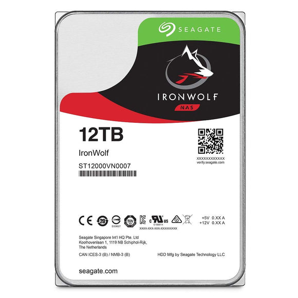 Seagate IronWolf 12TB NAS Internal Hard Drive HDD - 3.5 Inch SATA 6Gb/s 7200 RPM 256MB Cache for RAID Network Attached Storage (ST12000VN0007)