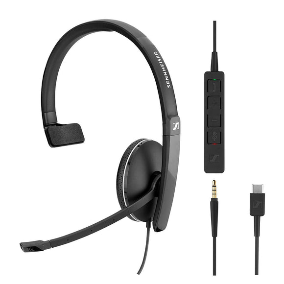 SENNHEISER SC 135 USB-C (508355) - Single-Sided (Monaural) Headset for Business Professionals | with HD Stereo Sound, Noise-Canceling Microphone, USB-C Connector (Black)