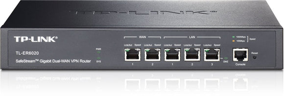 Open Box TP-Link SafeStream TL-ER6020 Gigabit Broadband Desktop/Rackmount VPN Router, 940M NAT throughput, 40k Concurrent Sessions, 64 IPSec VPN Tunnels, VLAN, Multi-NAT, 4 WAN Load balance or auto failover