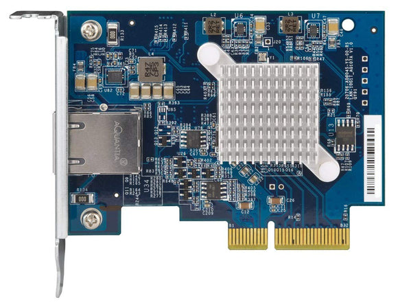 QNAP QXG-10G1T Single-Port (10Gbase-T) 10GbE Network Expansion Card, PCIe Gen3 X4, Low-Profile Bracket Pre-Loaded, Low-Profile Flat and Full-Height Brackets are Included