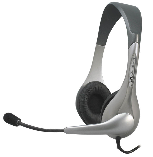 Stereo Ambidextrous Design Headset W/ Mic 3.5mm 7ft Vinyl