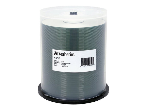 Verbatim 700MB 52X 80 Minute Shiny Silver Disc CD-R 100 Disc Spindle 94797