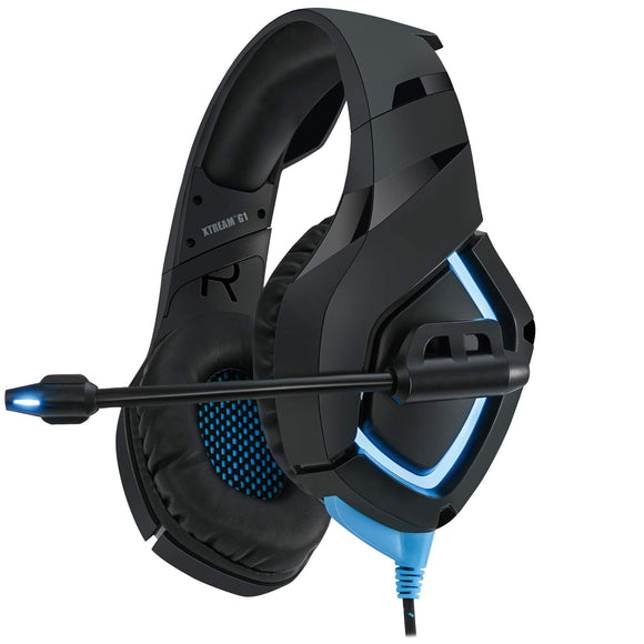Adesso Xtream G1 - Gaming Headphones with Noise Cancelling Microphone and LED Lighting for PC, PS4, Xbox, Nintendo Switch, and Laptops