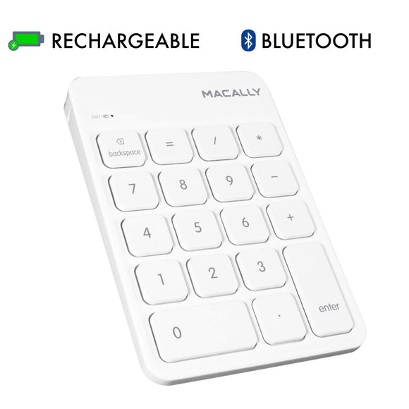 Macally Wireless Bluetooth Numeric Keypad Keyboard for Laptop, Apple Mac iMac MacBook Pro/Air, iPad Windows PC, Tablet, or Desktop Computer Rechargeable 18 Key Slim Number Pad Numerical Numpad - White