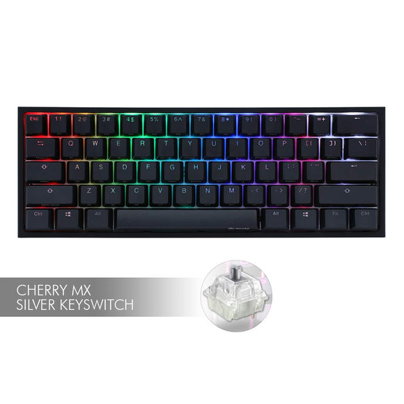 Ducky One 2 Mini - RGB LED 60% Double Shot PBT Mechanical Keyboard with Cherry MX Silver (Speed) Switches