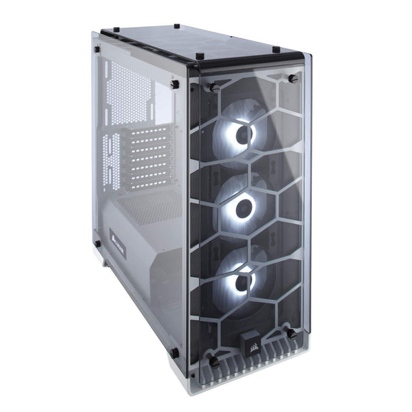 CORSAIR CRYSTAL 570X RGB Mid-Tower Case, 3 RGB Fans, Tempered Glass - White (CC-9011110-WW)