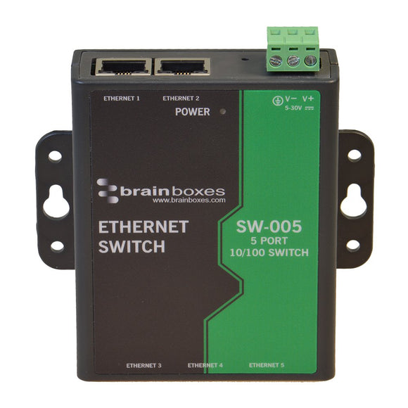 Brainboxes Switch - 5 Ports - DIN Rail mountable (SW-005)