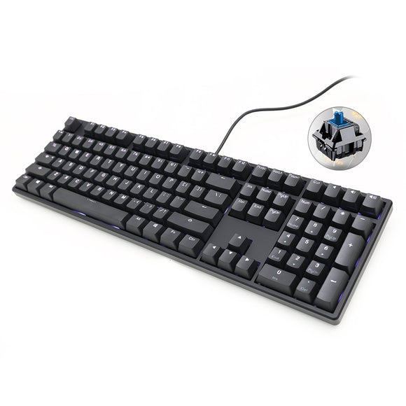 Ducky White LED Mechanical  Keyboard - Cherry MX Blue Switch, Double Shot Key Caps, N-Key Rollover, Macro Configuration, Backlighting Presets, Detachable Micro-USB Connection, Two Stage Feet