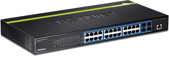 TRENDnet 24-Port Gigabit Layer 2 Switch with 4 Shared Mini-GBIC Slots,TL2-G244