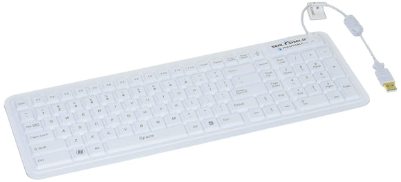 Seal Glow2 Washable Keyboard (White), Quick Connect, Silicone, Led Backlit, Anti