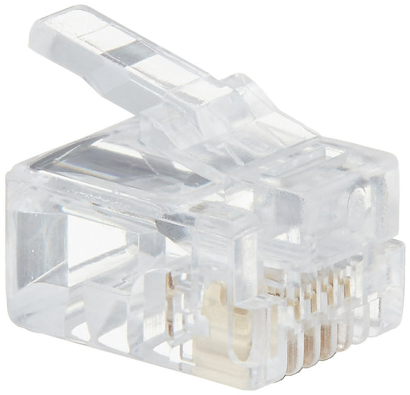 C2G 27562 RJ11 6x4 Modular Plug for Round Solid Cable Multipack (50 Pack) Clear