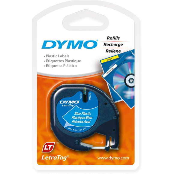 DYMO Labeling Tape, LetraTag Labelers, Plastic, 1/2