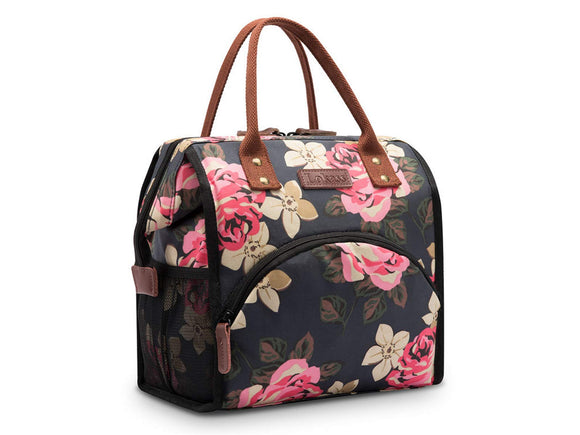 Hisen Waterproof Cooling Insulated Lunch Bag-Black (Flower)