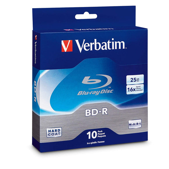 Verbatim BD-R 25GB 16X Blu-ray Recordable Media Disc - 10 Pack Spindle