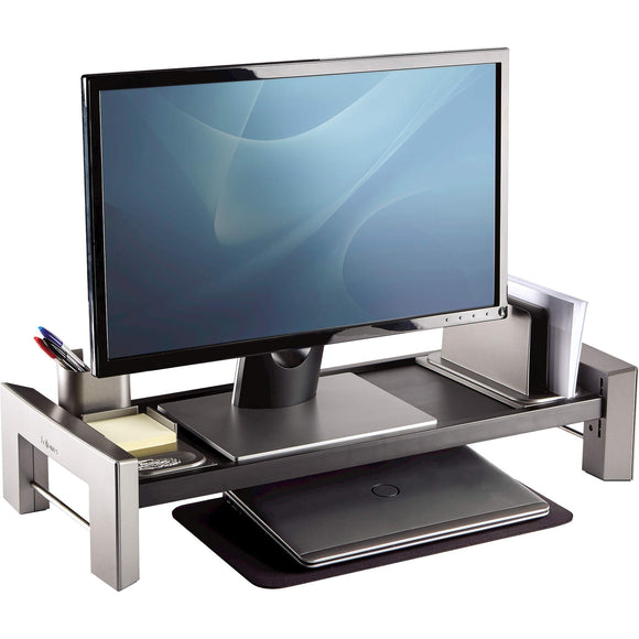 Fellowes Professional Series Flat Panel Workstation, Black/Silver