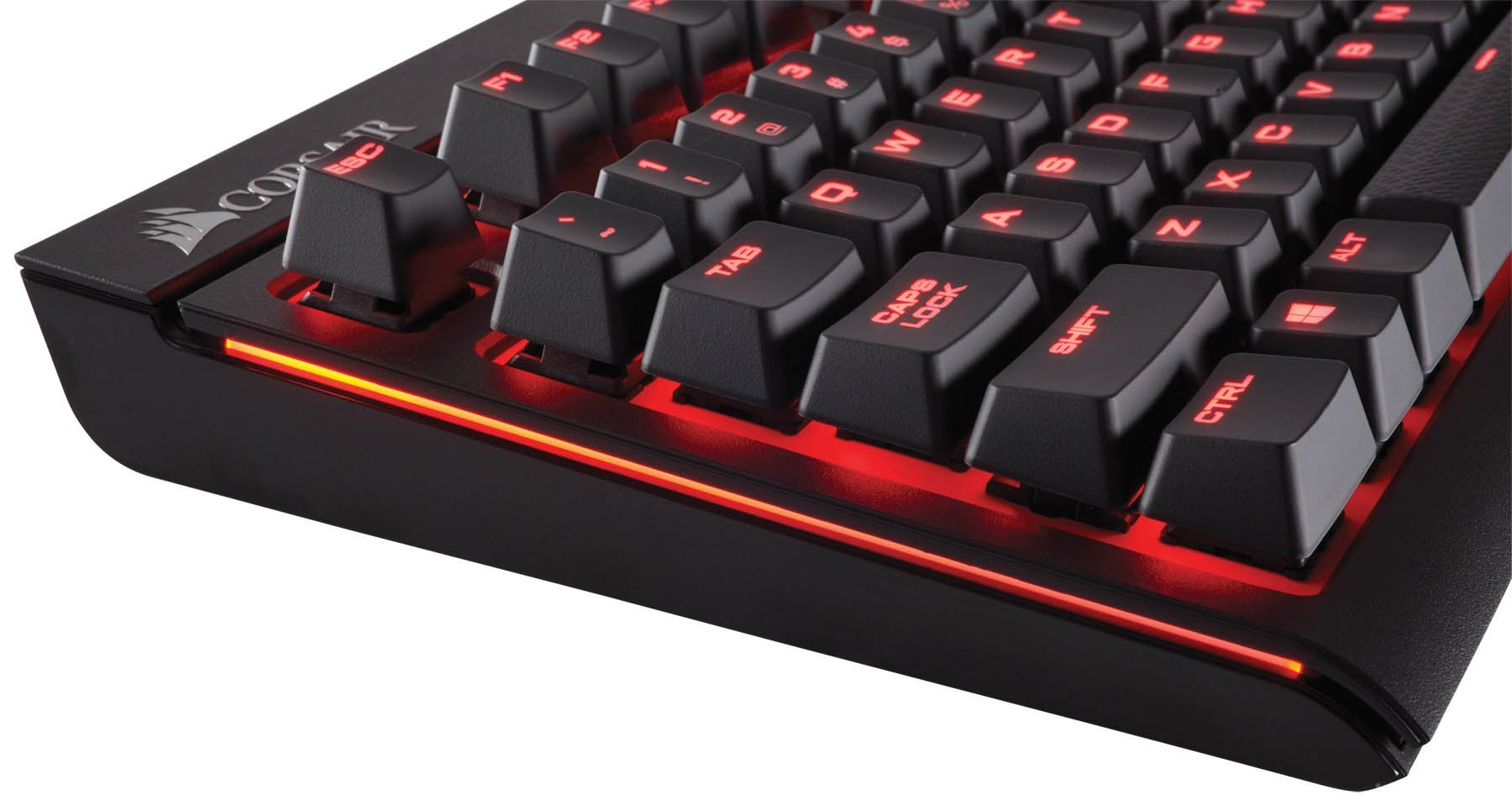 CORSAIR Strafe Mechanical Gaming Keyboard Renewed USB Passthrough Cherry MX Red Switch Linear and Quiet Red LED Backlit