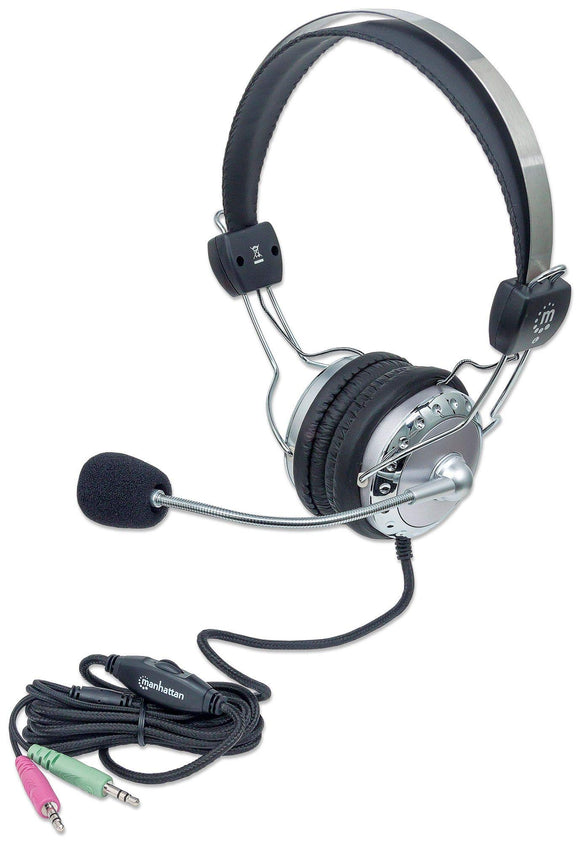 Manhattan 175517 Flexible Metal Boom Microphone with Stereo Headset