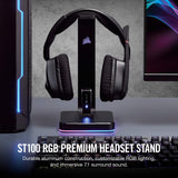 CORSAIR ST100 RGB Premium Headset Stand with 7.1 Surround Sound - 3.5mm and 2xUSB 3.0