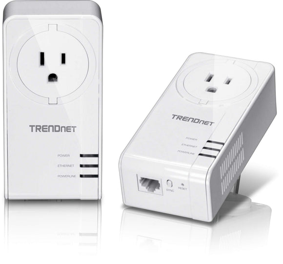 TRENDnet Powerline 1300 AV2 Adapter with Built-in Outlet Adapter Kit, Includes 2 x TPL-423E Adapters, IEEE 1905.1 & IEEE 1901, Gigabit Port, Range Up to 300m (984 ft.), TPL-423E2K
