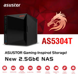 Asustor AS5304T | Gaming Inspired Network Attached Storage | 1.5GHz Quad-Core, Two 2.5GbE Port, 4GB RAM DDR4, 4GB eMMC Flash Memory | Personal Private Cloud (4 Bay Diskless NAS)