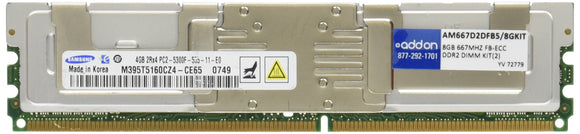 8gb Kit (2x4g) Major Dram Ddr2 667mhz Dual Rank Ecc Fully Buffered