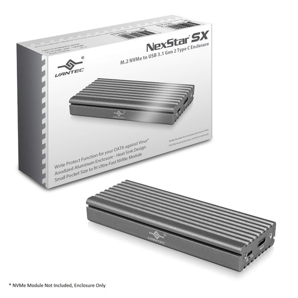 Vantec M.2 Nvme SSD to USB 3.1 Gen 2 Type C Enclosure with C to C Cable, Space Gray Color, ID5 (NST-205C3-SG)