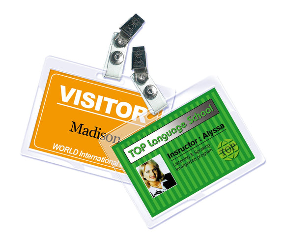 Royal Sovereign Heat Sealed Laminating Pouches 5 Mil ID Badge Size Punched with Clips Clear Gloss (25 Pack) (RF05IDPC0025)