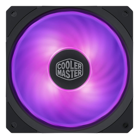 Cooler Master MasterFan SF120R RGB 120mm Square Frame Fan w/RGB LEDs, Hybrid Blade Design, Cable Management and PWM Control Fan