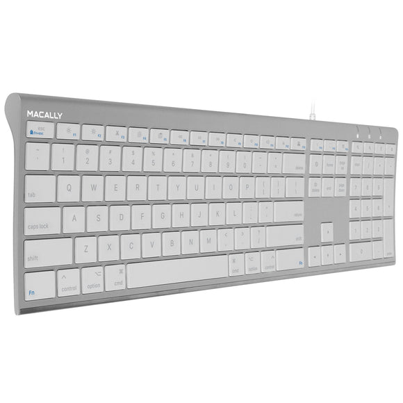 Macally Ultra-Slim USB Wired Computer Keyboard for Apple MacBook Pro, Air, iMac, Mac Mini, Windows PC Laptops/Desktops and Notebooks, Plug and Play, Silver