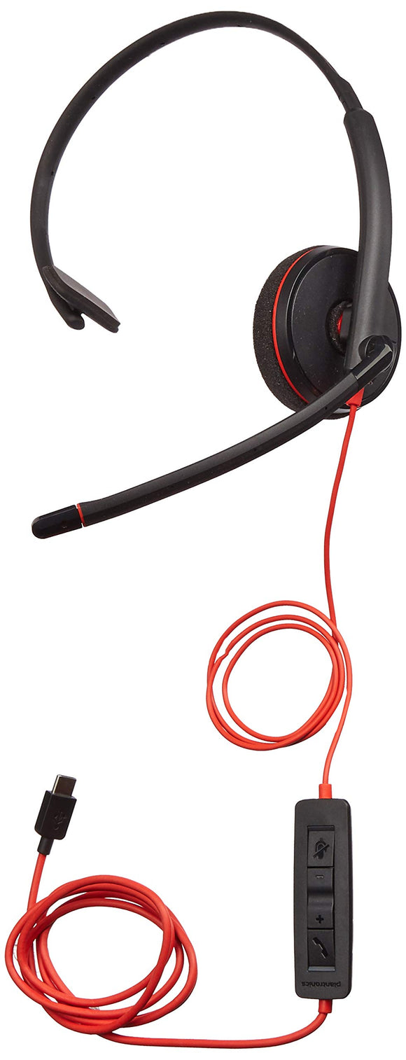 Plantronics 209748-22 Black Wire 3200 Series Corded UC headsets