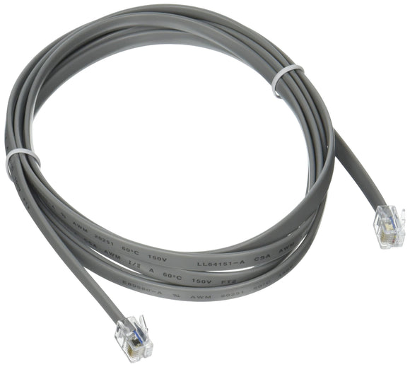 C2G 09598 RJ12 6P6C Straight Modular Cable, Silver (7 Feet, 2.13 Meters)