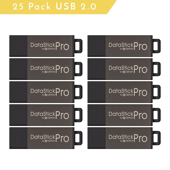 Centon MP Valuepack USB 2.0 Datastick Pro (Grey), 2GB, 25Pack