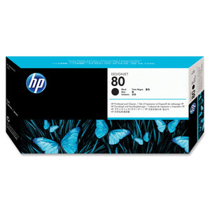 HP 80 Black and Cleaner DesignJet Original Ink Cartridge (C4820A)