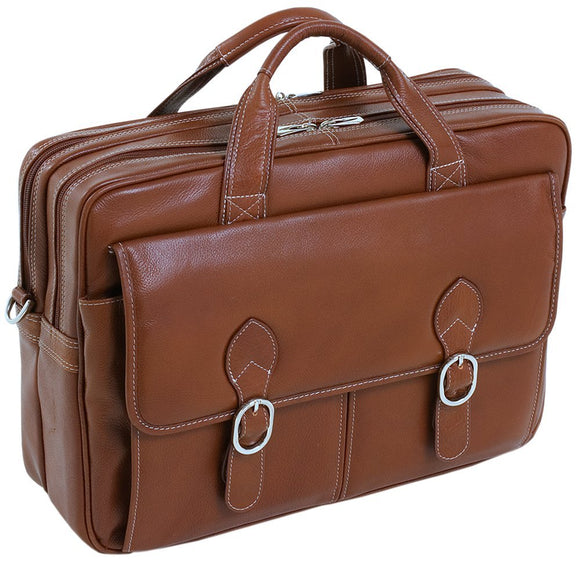 McKlein 15564 USA Kenwood Leather Double Compartment Laptop Case Brown