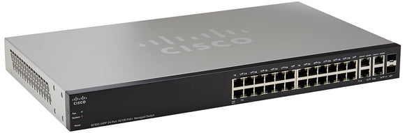 CISCO SF300-24PP 24-Port 10/100 PoE+ Managed Switch w/Gig Uplinks (SF300-24PP-K9-NA)