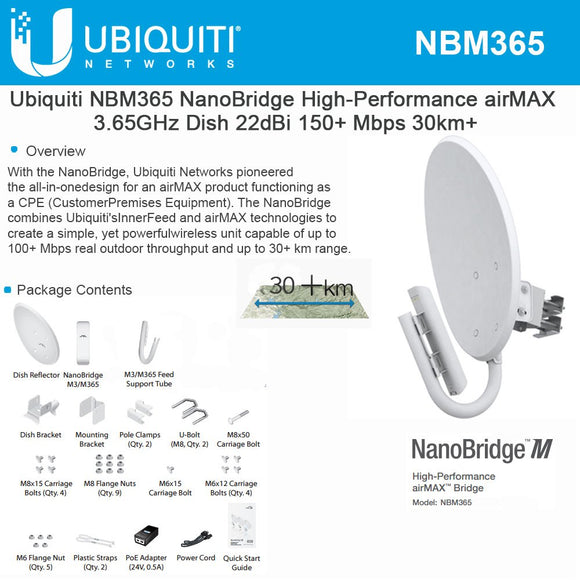 Ubiquiti NanoBridge M Wireless Bridge (NBM365)