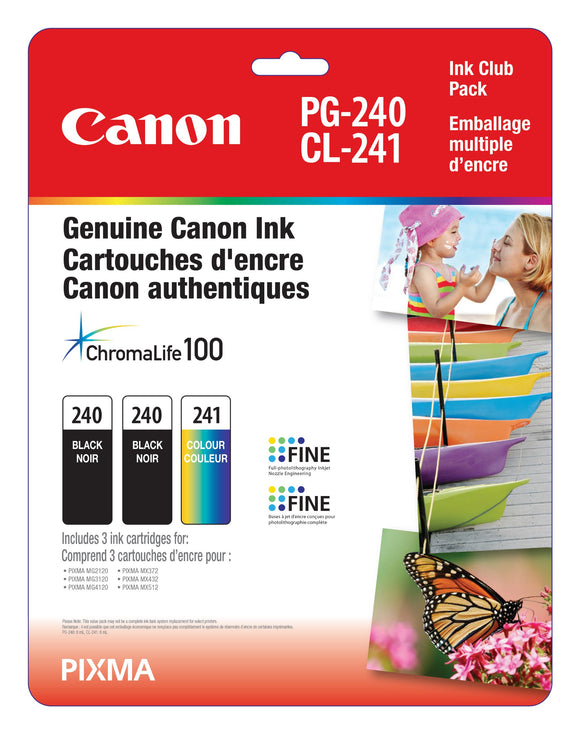 Canon Genuine PG-240 Twin/CL-241 Ink Club Pack