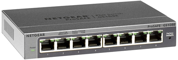 NETGEAR 8-Port Gigabit Ethernet Smart Managed Plus Switch (GS108Ev3) - Desktop, and ProSAFE Lifetime Protection