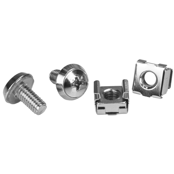 StarTech.com M6 Mounting Screws and Cage Nuts for Server Rack Cabinet 1 Package (CABSCREWM62)