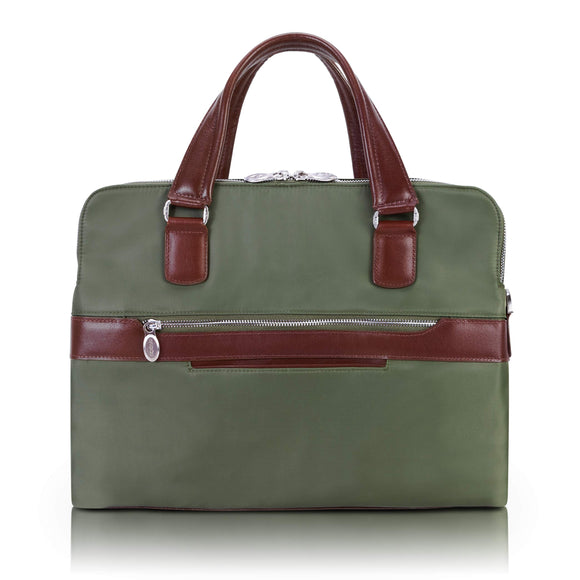 McKlein 18581 USA Hartford Nylon Dual Compartment Briefcase Green