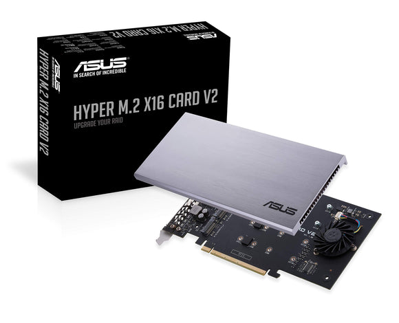 Open Box ASUS Hyper M.2 X16 PCIe 3.0 X4 Expansion Card V2 Supports 4 NVMe M.2(2242/2260/2280/22110)Up to 128 Gbps for Intel VROC & AMD