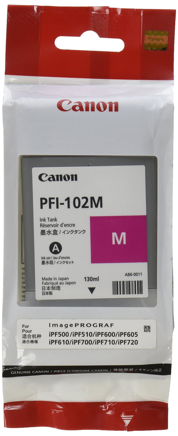 Canon PFI-102M 0897B001AA IPF500 IPF600 IPF700 Ink Tank (Magenta) in Retail Packaging