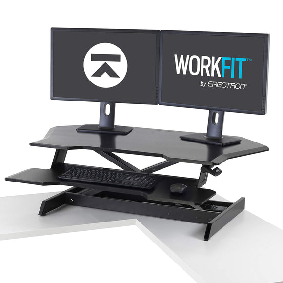 Ergotron - WorkFit Corner Standing Desk Converter - for Tabletops - 45 Inches, Black