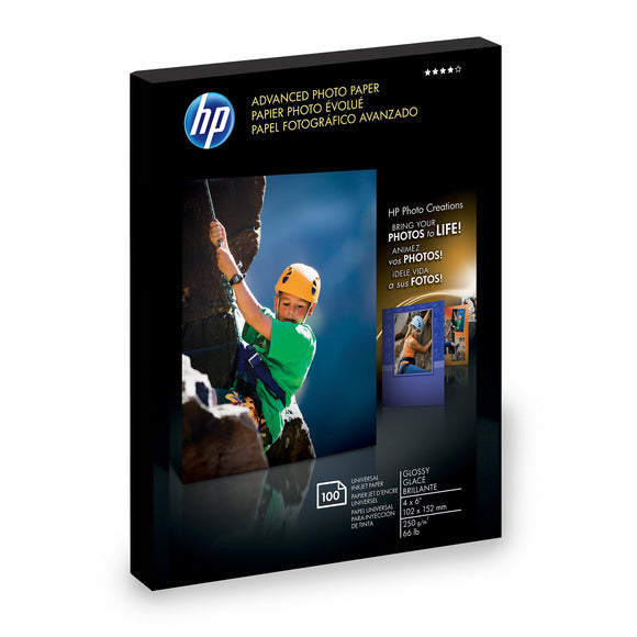 Hp Advance Glossy Paper 4X 6 100 Sht 100 Sheets of 4 X 6 Borderless Glossy Advan (Q6638A)