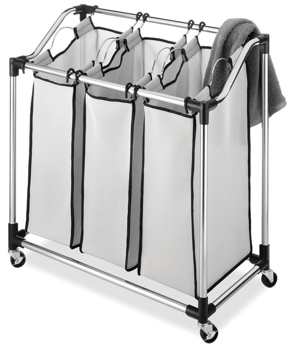 Open Box Whitmor 6862-3260 Chrome Laundry Sorter with Foam Mesh Bags