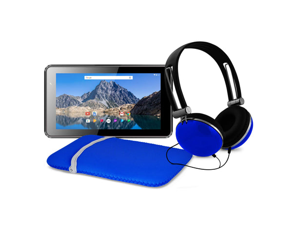 Ematic 7-Inch Android 7.1 (Nougat), Quad-Core 16GB Tablet with Folio Case and Headphones, Blue
