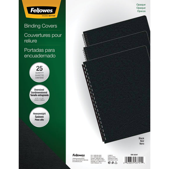 FELLOWES FLW5224701, Futura Presentation Covers, Oversize, 25-Pack (Black)