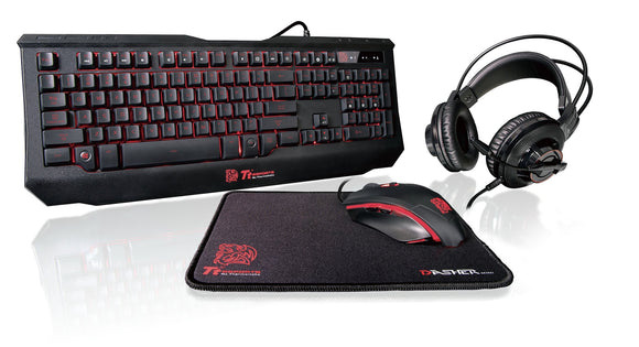 Thermaltake KB-GCK-PLBLUS-01 4-in-1 Keyboard & Optical Gaming Mouse/Headset/Mouse Pad Combo Kit