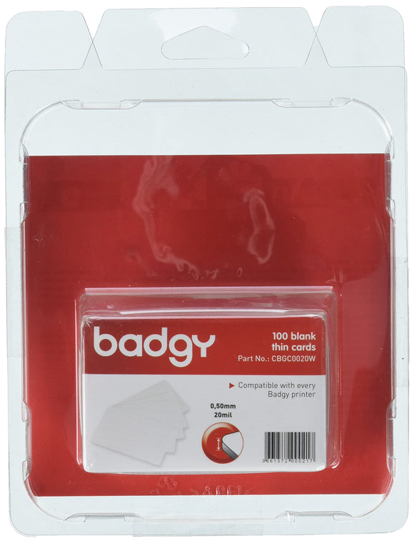 Badgy CBGC0020W 100 PVC Cards Thin 20mil