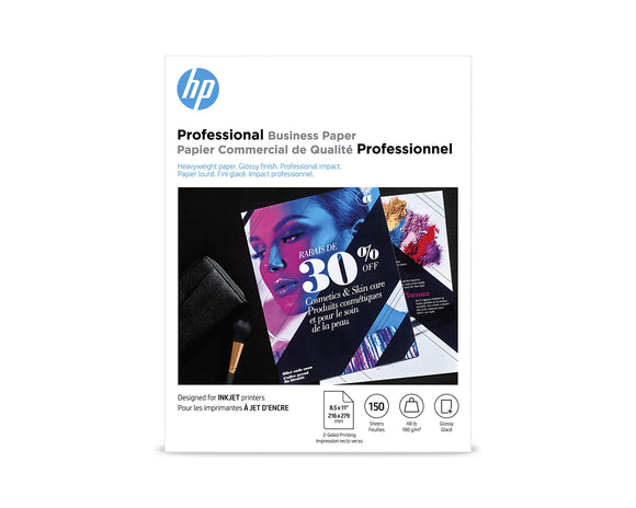 HP Brochure Paper, Glossy (150 Sheets, 8.5 x 11 Inches, 180 g) 92 Brightness